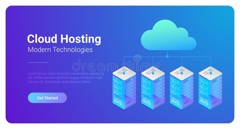 Isometric Flat Data Hosting Servers connected to C stock illustration