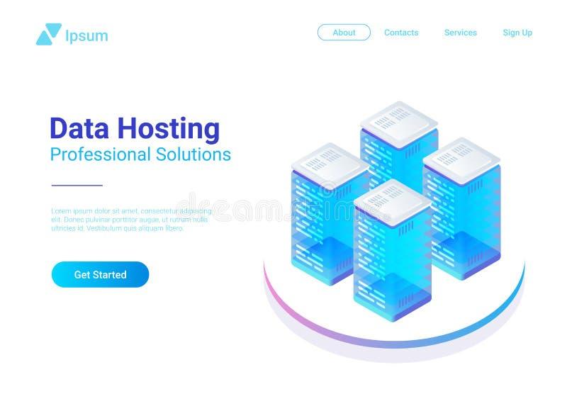 Isometric Flat Data Hosting Servers vector illustr vector illustration