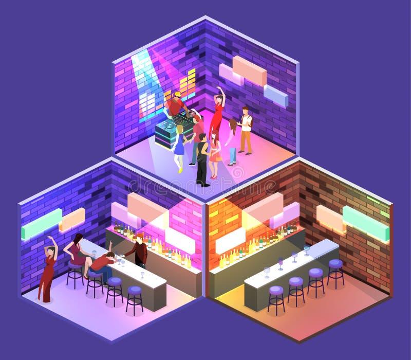 Isometric flat 3Dconcept cutaway Bar in the nightclub. royalty free illustration
