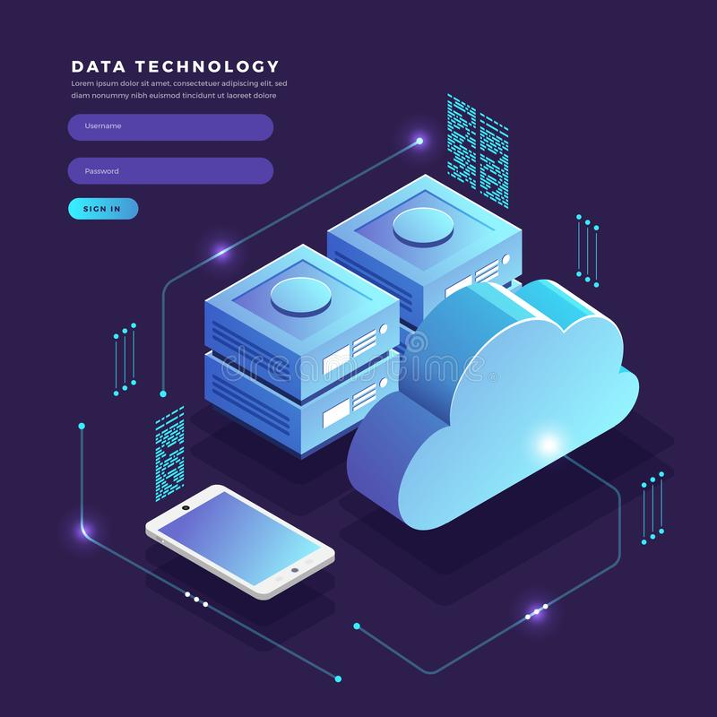 Isometric flat design concept cloud technology data transfer and royalty free illustration