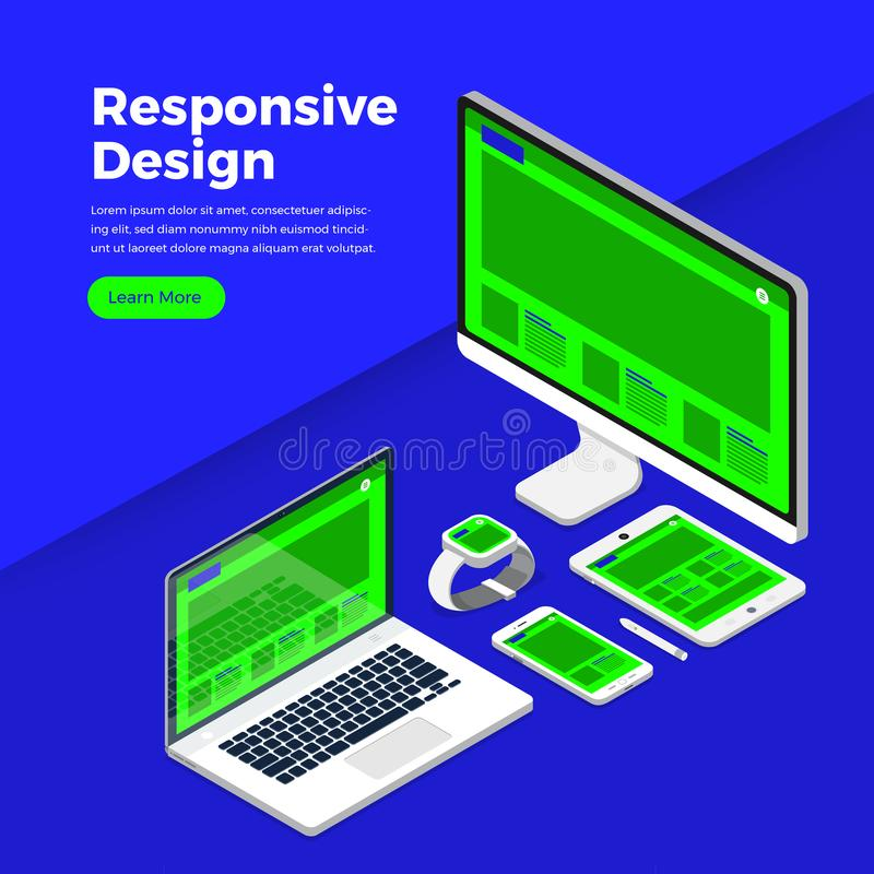 Isometric flat design concept responsive design. Mockup website interface on multiple screen. Vector illustrations.  royalty free illustration