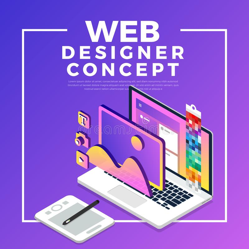 Isometric flat design concept web designer. Vector illustration. stock illustration