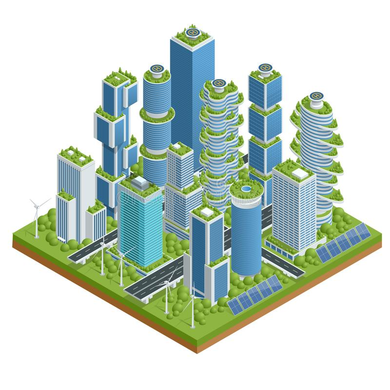 Isometric flat Eco-architecture. Green skyscraper building with plants growing on the facade. Ecology and green living stock illustration