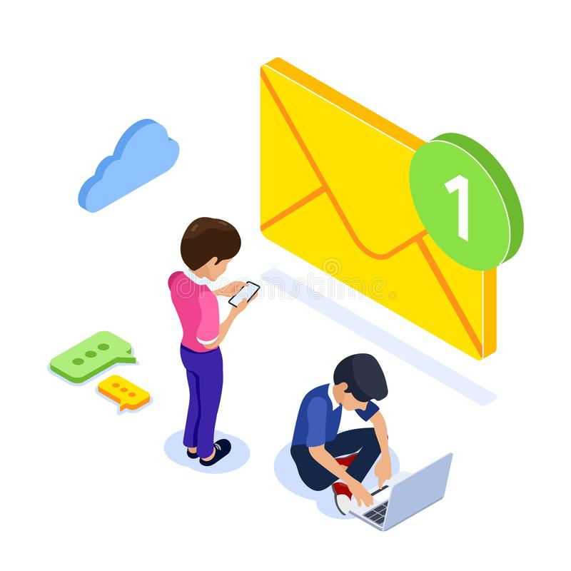 Isometric flat email notification concept. Email marketing at work. People received notification of a new letter on vector illustration