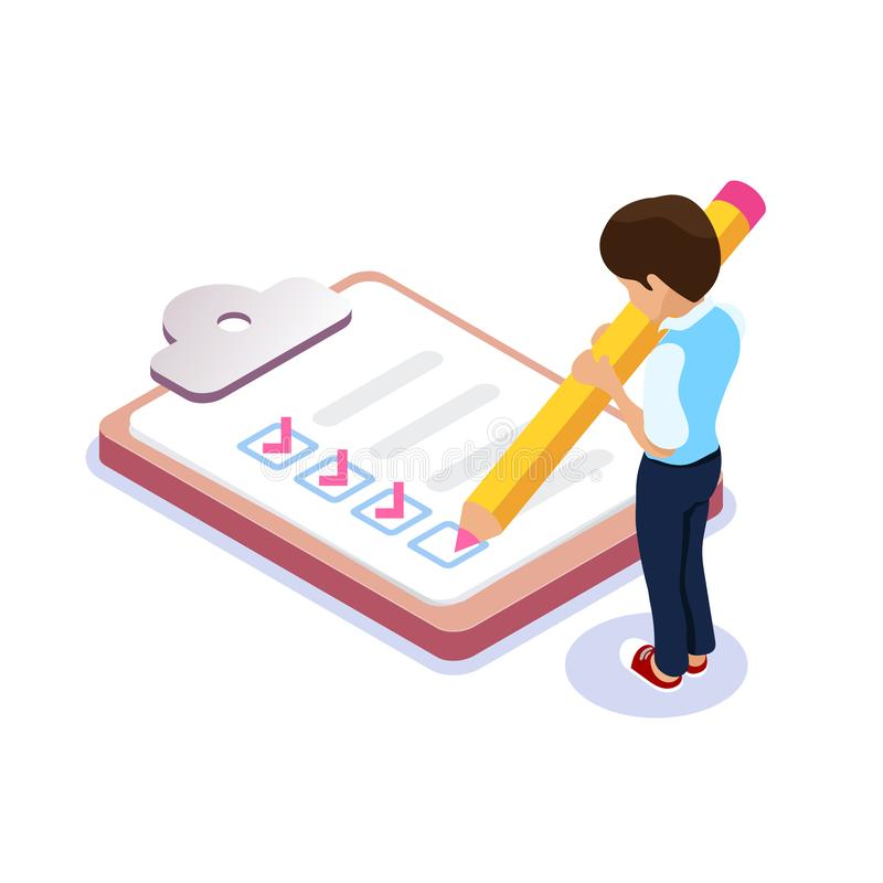 Isometric flat filling out checklist. Character with a pencil in his hands puts a tick in the list. Student or employee vector illustration