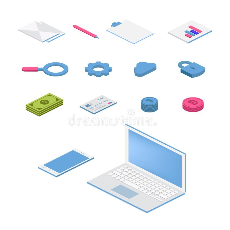 Isometric flat icon set. 3d vector colorful illustration with SEO symbols. Digital network, analytics, social media and market. Colorful pictogram Isolated on stock illustration
