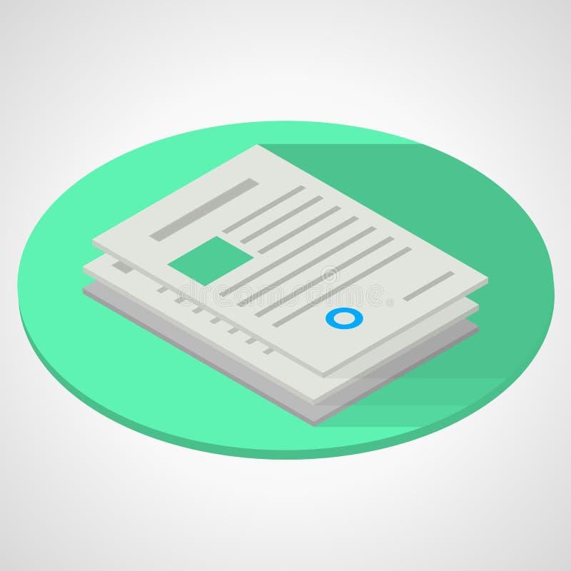 Isometric flat illustration of documents paper royalty free illustration
