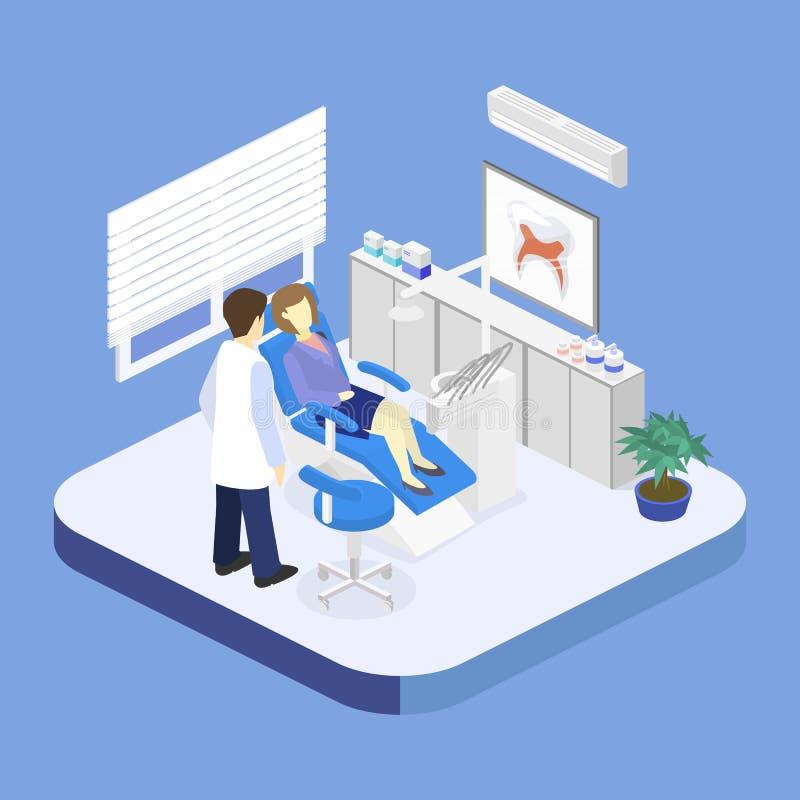 Isometric flat interior of dentist`s office. stock illustration