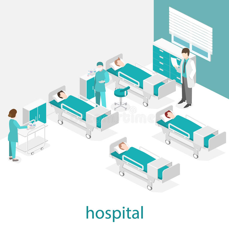 Isometric flat interior of hospital room. Doctors treating the patient. royalty free illustration