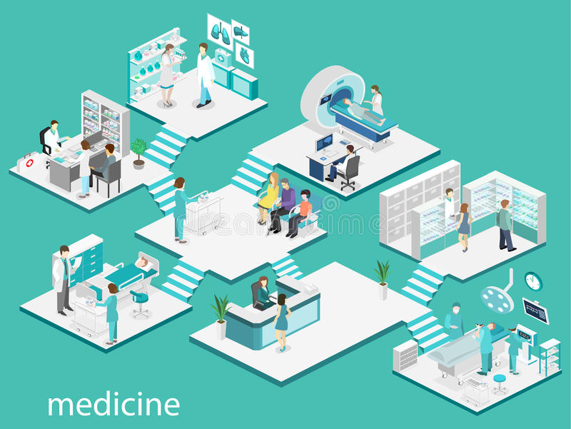 Isometric flat interior of hospital room, pharmacy, doctor`s office,. Waiting room, reception, mri, operating. Doctors treating the patient. Flat 3D vector illustration