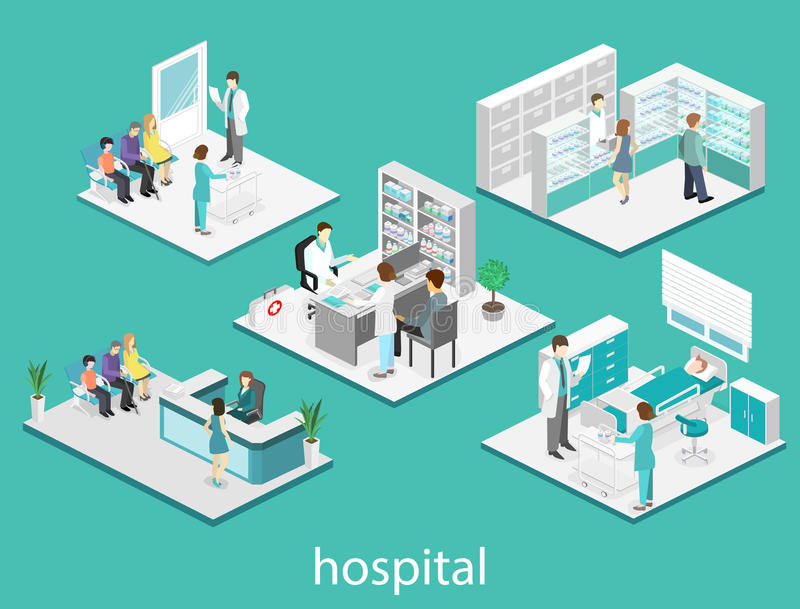 Isometric flat interior of hospital room, pharmacy, doctor`s office, waiting room, reception. Doctors treating the patient. Flat. 3D illustration vector illustration