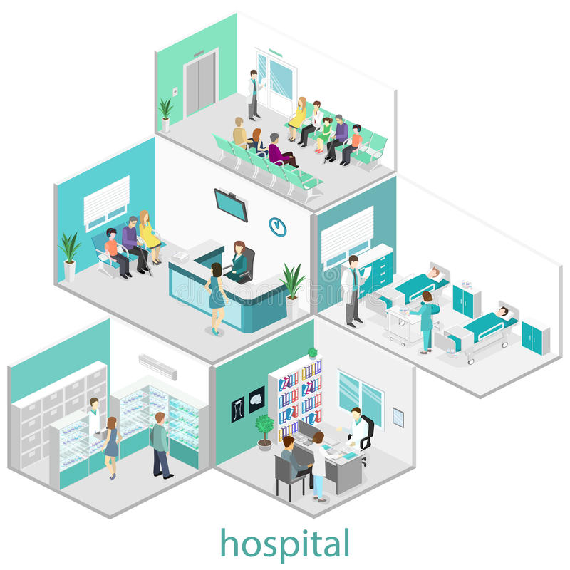 Isometric flat interior of hospital room, pharmacy, doctors office, waiting room. Reception. Doctors treating the patient royalty free illustration