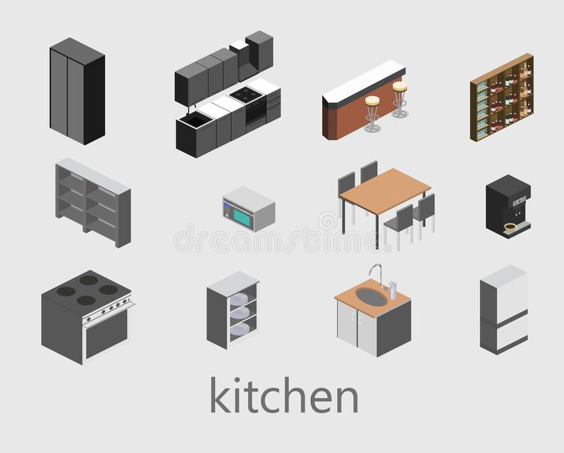 Isometric flat isolated concept vector cutaway interior of kitchen stock photo