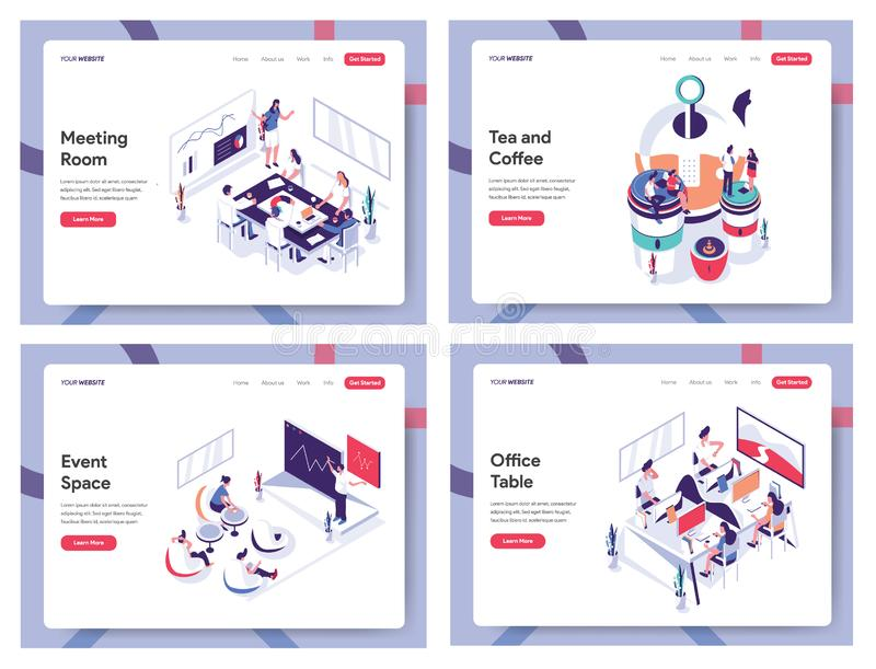 Isometric Flat Meeting Room, Tea and Coffee, Event Space and Office Table Banner Concept, Landing page template for Website, Mobil. E, Android, Iphone Vector stock illustration