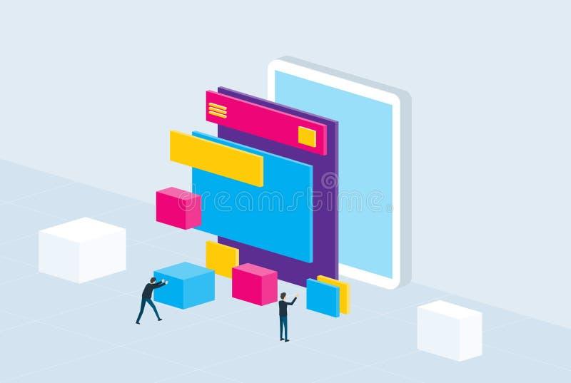 Isometric flat mobile application development and design process stock illustration