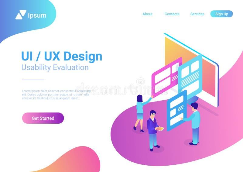 Isometric style illustration UI UX Design People Teamwork royalty free illustration