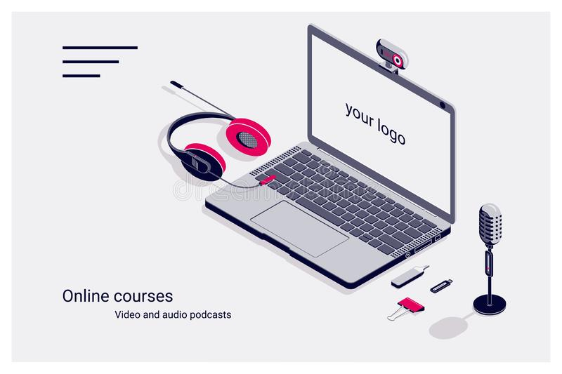 Isometric flat template home page of online courses with laptop, flash drive, microphone and headphones. Vector illustration vector illustration