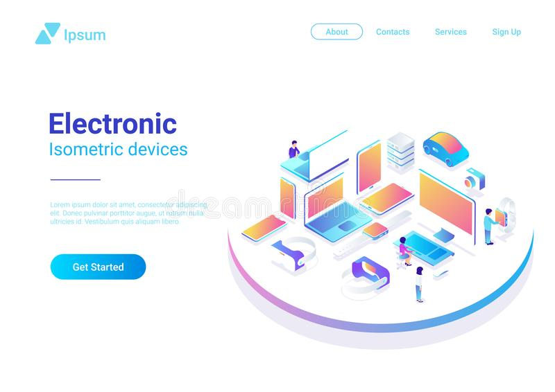 Isometric Flat ultraviolet: laptop computer monito. Isometric Flat electronic devices ultraviolet collection: laptop, computer, monitor, vr helmet, smartwatch royalty free illustration
