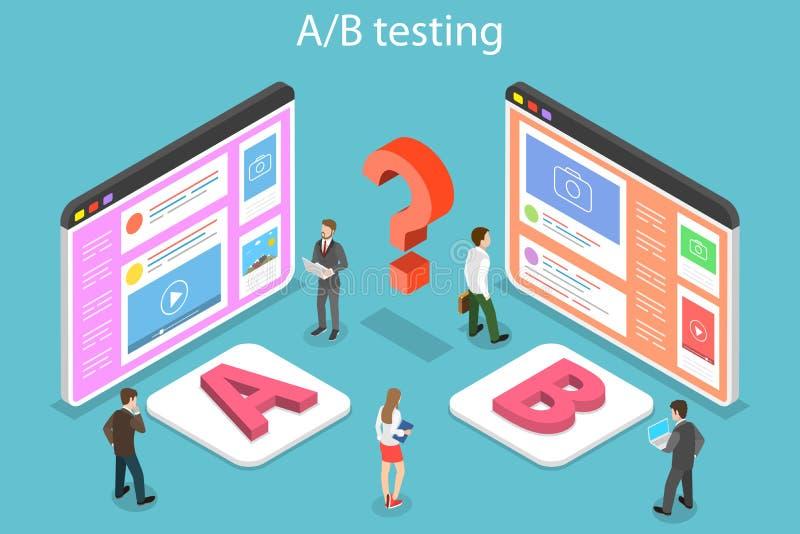 Isometric flat vector concept of AB testing, split test, A-B comparison. vector illustration