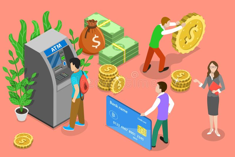 Isometric flat vector concept of ATM, bank card, automated teller machine. Isometric flat vector concept of ATM, bank card, automated teller machine, getting vector illustration