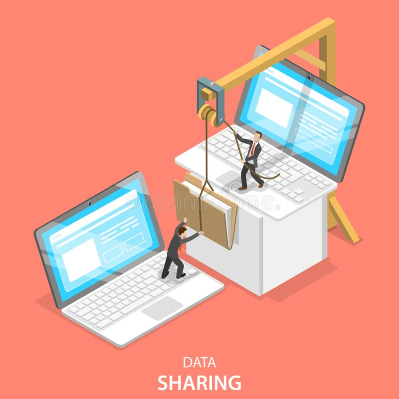 Data sharing service isometric flat vector concept. Isometric flat vector concept of data sharing service, social network, information exchange, file transfer stock illustration