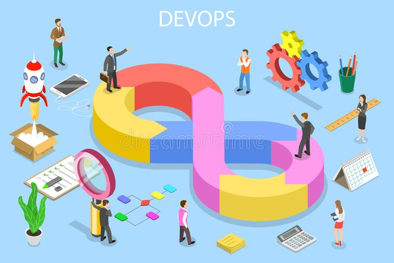 Isometric flat vector concept of DevOps, development and operations. vector illustration