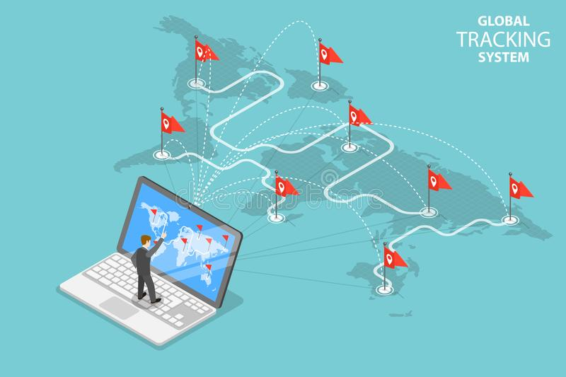 Global tracking system isometric flat vector concept. vector illustration