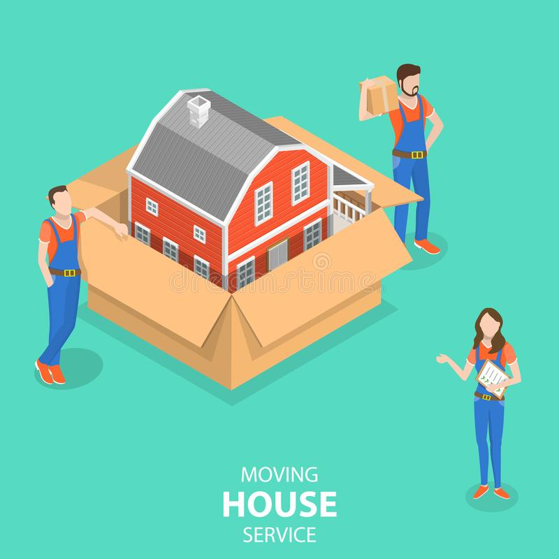 Isometric flat vector concept of house moving and relocation service. stock illustration