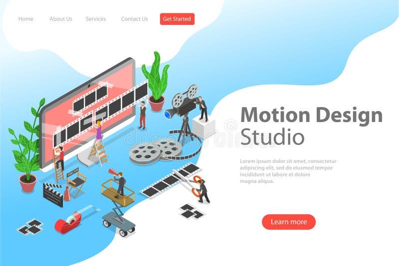 Isometric flat vector concept of motion design studio, video editor app. vector illustration