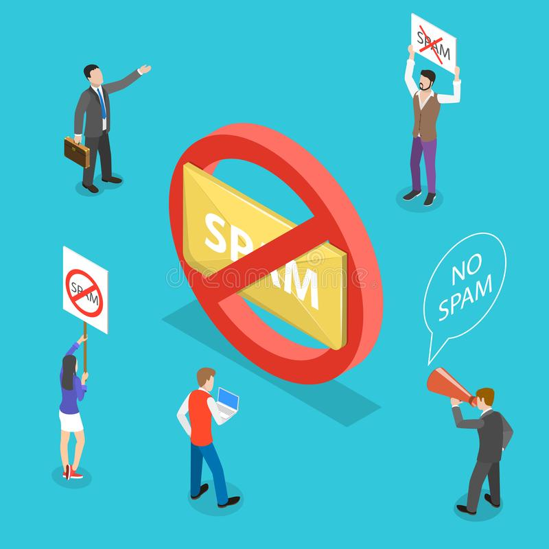 Isometric flat vector concept of no spam. stock illustration