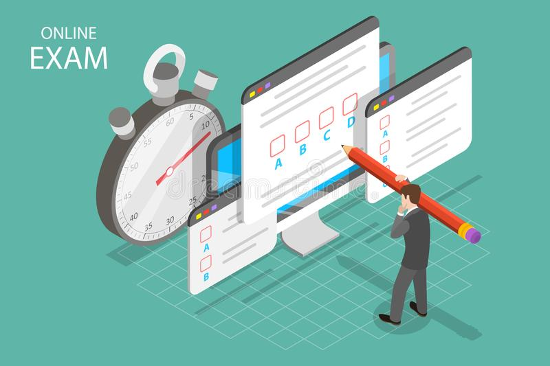 Personal online exam isometric flat vector concept. royalty free illustration