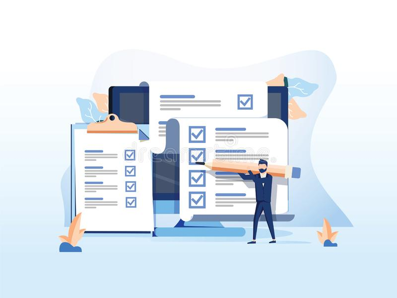 Isometric flat vector concept of online exam, questionnaire form, online education, survey, internet quiz. Survey or exam form long paper sheet with answered royalty free illustration