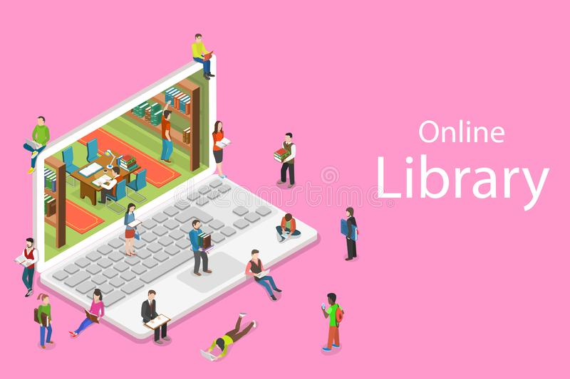 Isometric flat vector concept of online library, education, reading. stock illustration