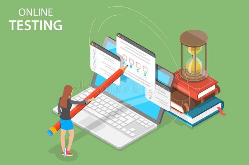 Isometric vector concept of online testing, online education, survey. vector illustration