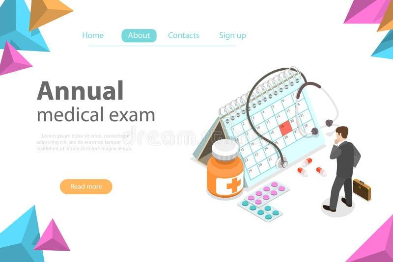 Regual medical checkup isometric flat vector concept. Isometric flat vector concept of Regual medical checkup, health exam, medical services stock illustration