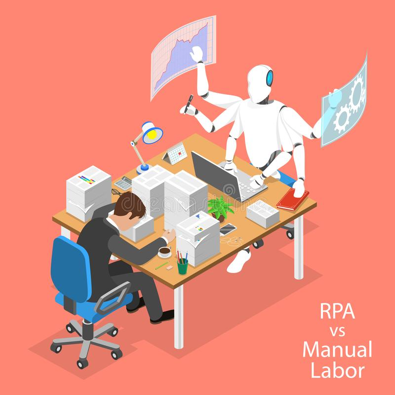 Isometric flat vector concept of RPA vs manual labor. Isometric flat vector concept of RPA vs manual labor, robotic process automatisation, RPA, AI, artificial stock illustration