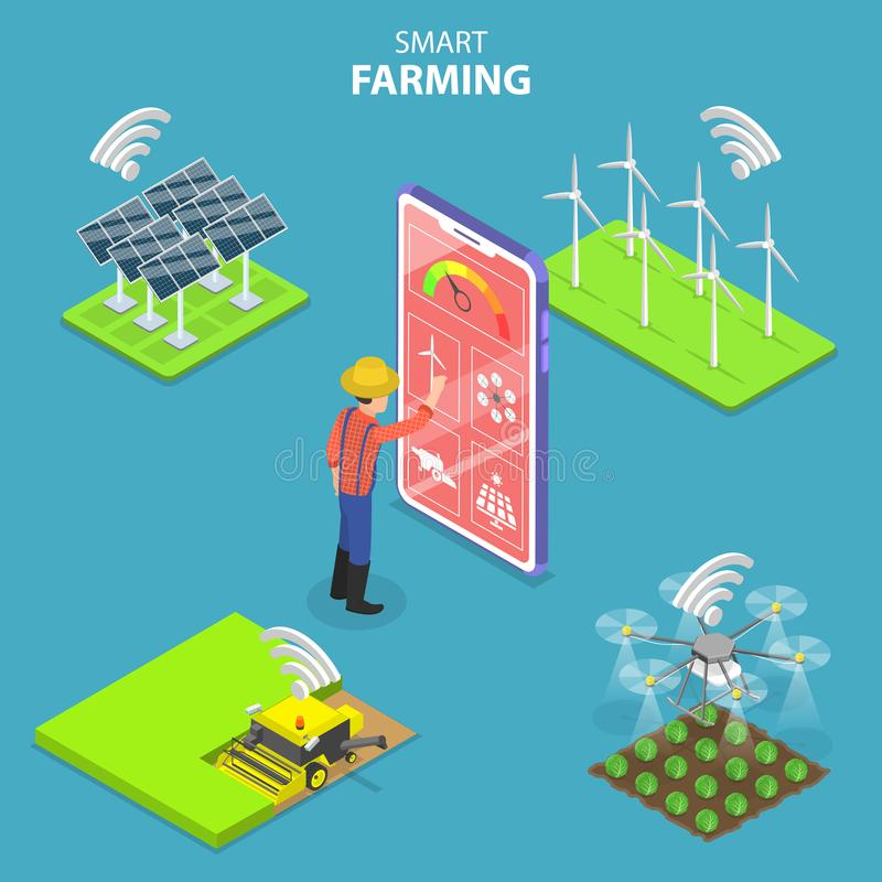 Isometric flat vector concept of smart farming, agricultural automation. royalty free illustration