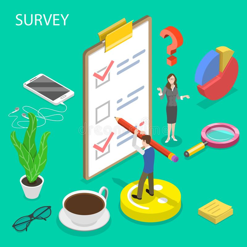 Isometric flat vector concept of survey, customer rating and feedback. vector illustration