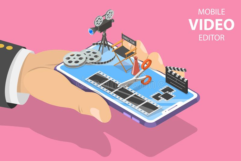 Isometric flat vector concept of video editing app, multimedia production. stock illustration