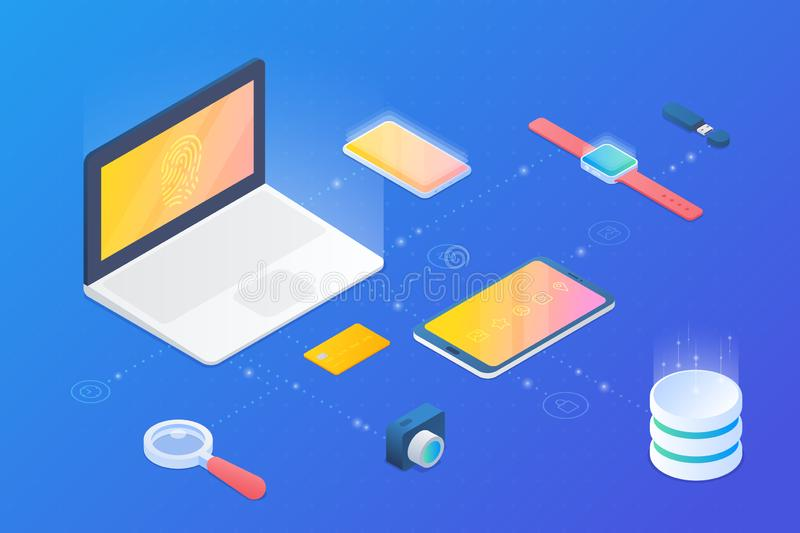 Isometric Flat vector devices: notebook laptop, mobile phone smartphone, tablet pc, smartwatch, camera, data storage.  stock illustration