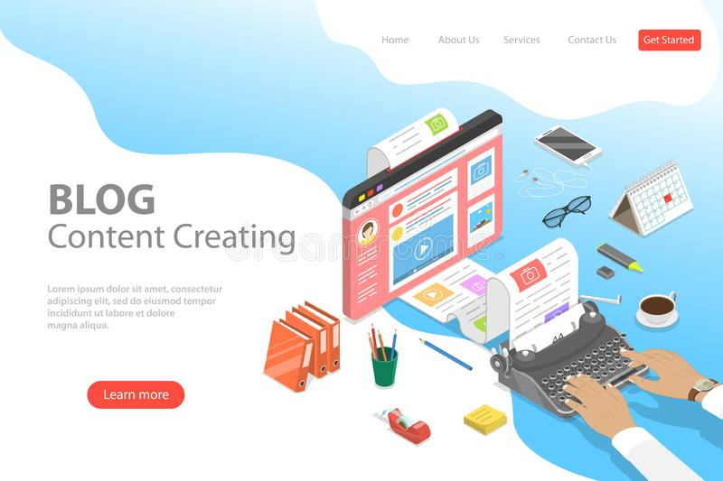 Isometric flat vector landing page tempate of creative business blogging. vector illustration