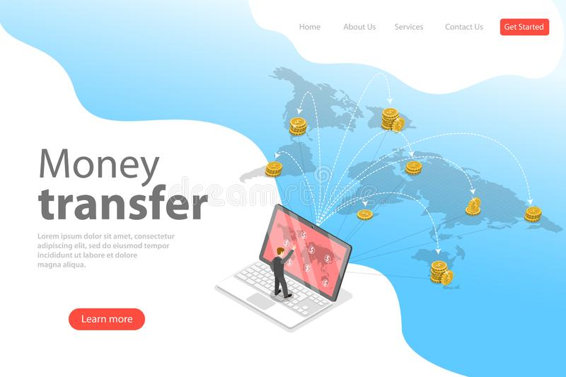 Isometric flat vector landing page template of financial transaction. stock illustration