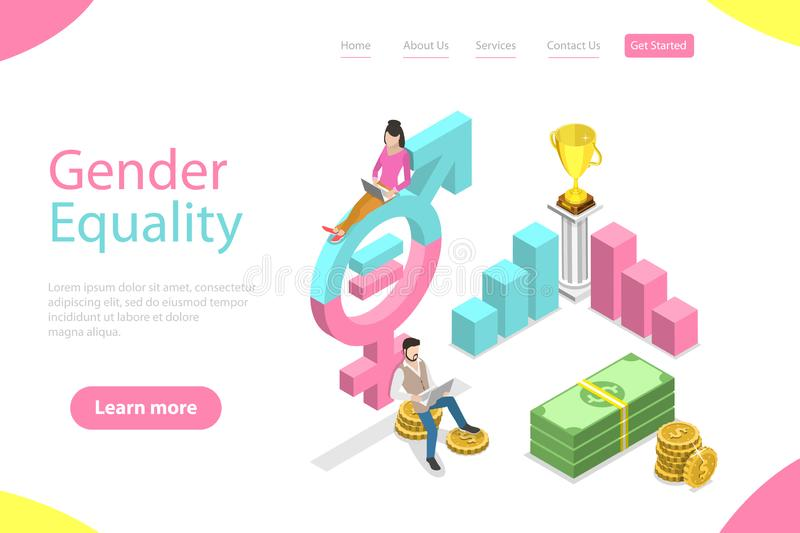 Isometric flat vector landing page template of gender equality. Isometric flat vector landing page template of gender equality, male and female equal rights and royalty free illustration