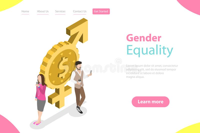 Isometric flat vector landing page template of gender equality. Isometric flat vector landing page template of gender equality, male and female equal rights and stock illustration