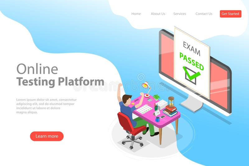 Isometric flat vector landing page template of passed online exam. stock illustration