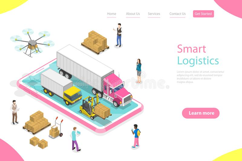 Isometric Flat Vector Landing Page Template Of Smart Logistics Stock Vector Illustration Of Page Logistic 159673115