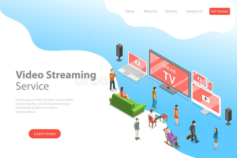 Isometric flat vector landing page template of smart TV, home entertainment. Isometric flat vector landing page template of smart TV, home entertainment, movie vector illustration