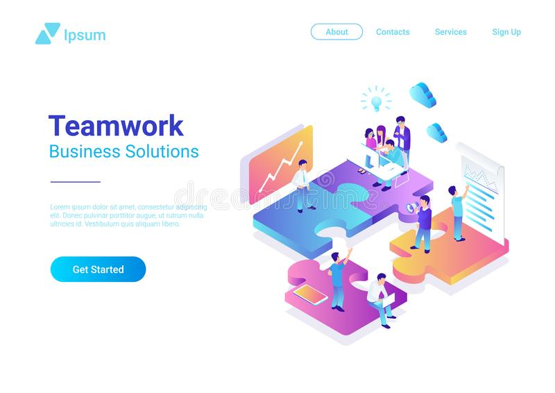 Isometric Flat vector Management Teamwork People P vector illustration