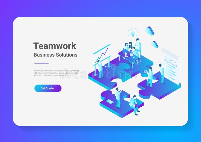 Isometric Flat vector Teamwork People Puzzle parts royalty free illustration