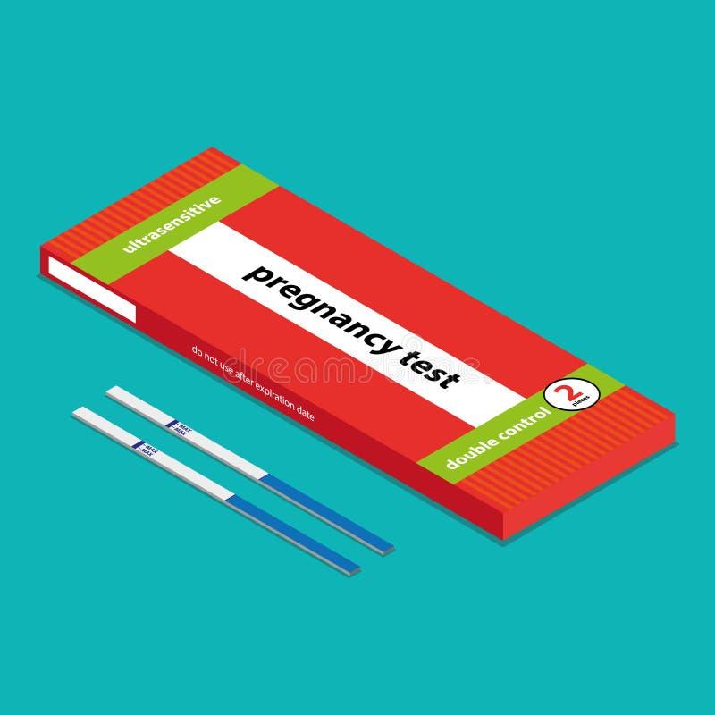 Isometric flat vector - test for pregnancy vector illustration